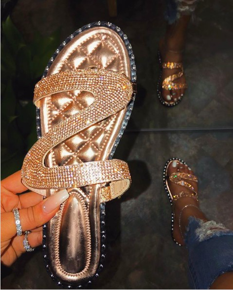 Dallas Bling Rose Gold Sandals
