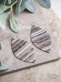 Black silver serape leaf earrings