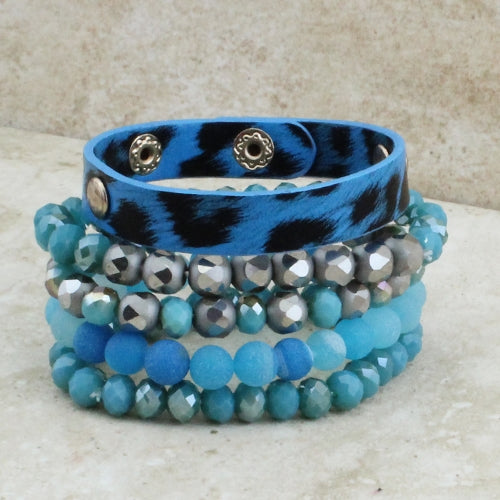 Falling for Blues Silver Leopard Beaded Bracelet Stack