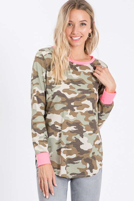 Camo & hot pink waffle knit long sleeve