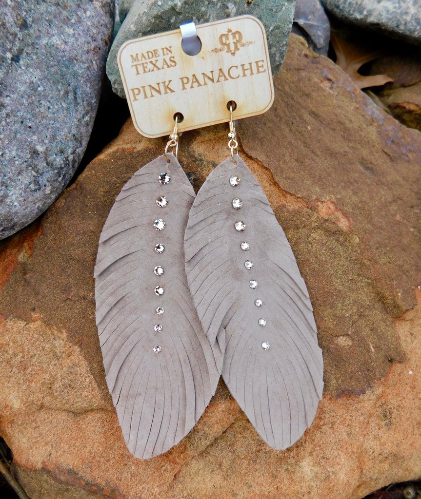 Dark Taupe crystal feather earrings by Pink Panache
