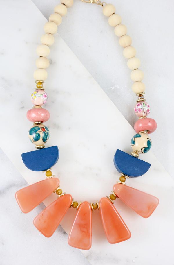 Coral Barrow Mixed Stone Necklace