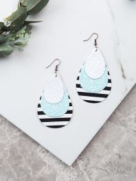Mint Sparkle & Stripe Earrings