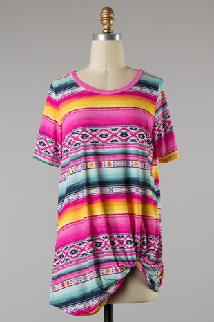 Fuchsia Aztec Top w/ Twist