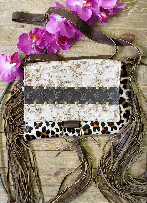 Cream gold leather & Leopard fringe Maxine