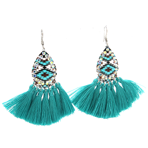 Teal Aztec AB tassel earrings