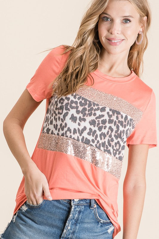 Coral Casual Sequin Leo Top