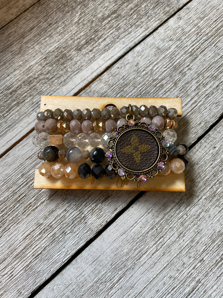 Deep Mermaid Shimmer Bracelet Upcycled Stack