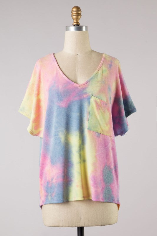 Pink Summertime Tie Dye V neck Top