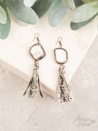 Rock The Look Ivory Pave tassel earrings