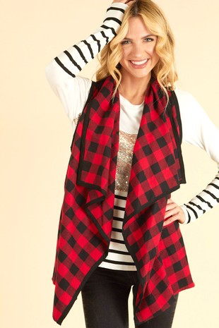 Rosie in red checkered vest