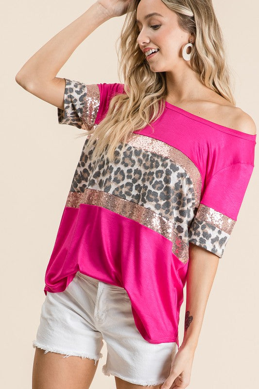 Fuchsia Show me your style leopard sequin tee