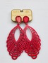 In The South Red Crystal Wooden Earrings by Pink Panache