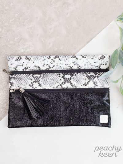 Metallic Snake print Double Zipper Versi Bag