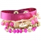 Fuchsia Metallic Beaded bracelet stack