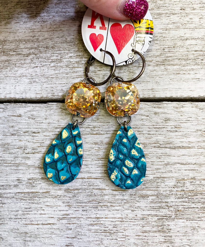 Deep Turquoise with Golden AB Stone Double Drop Earrings