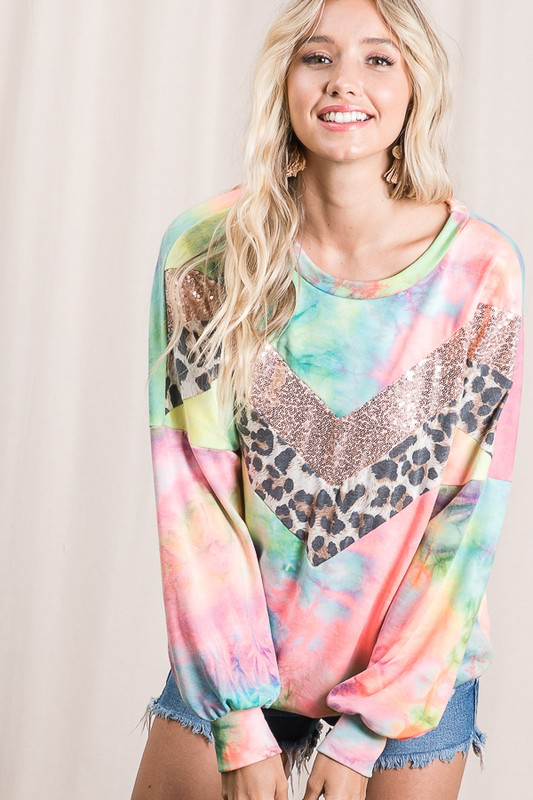 She's Chic & Comfy Tie Dye Sequin Long Sleeve