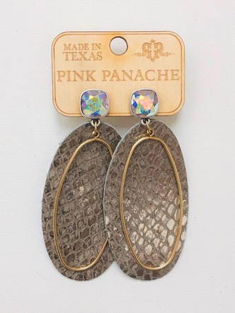 Taupe Shimmer Snake AB Earrings