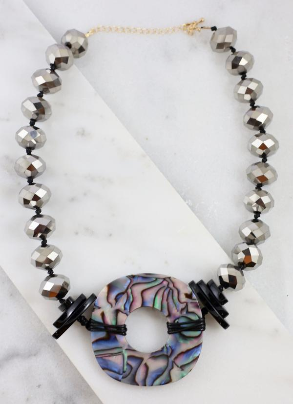Topanga Large Chrome Glass Beaded Resin Necklace