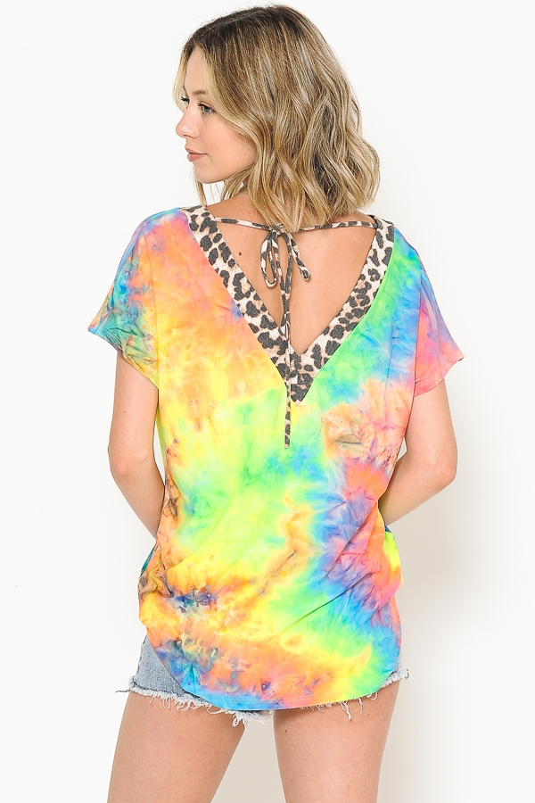 Bright Tie Dye Leopard V-Neck Top
