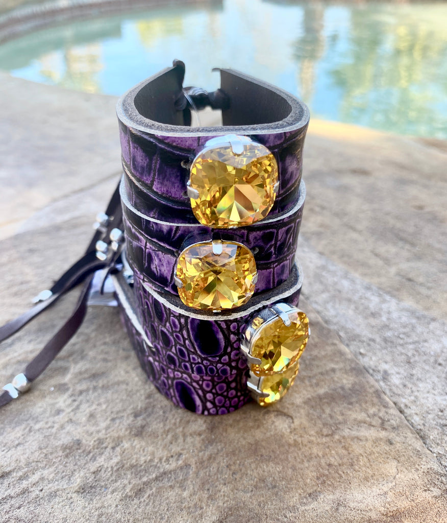 Deep purple Croc & yellow crystal mini cuff