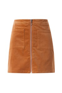Tan Patched pocket zip up skirt