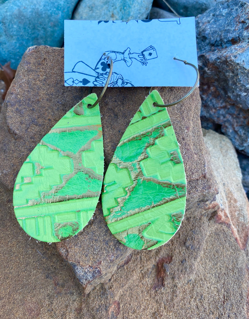 True Lime Tribal Print Earrings