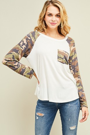 Stone Camo Long Sleeve Top