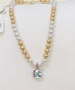 Sassy in Gold & Silver Beaded AB Crystal Necklace by Pink Panache