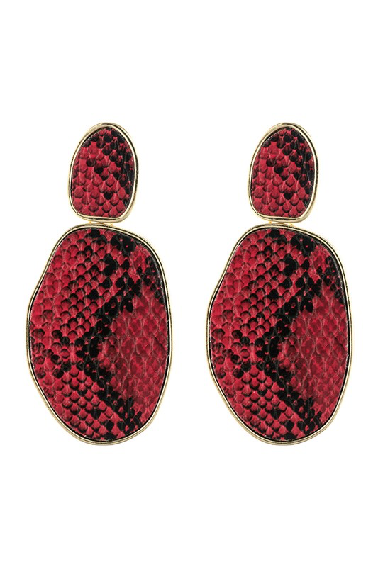 Red Snake Skin Earrings