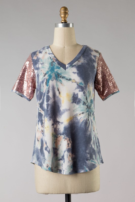 Alyssa Navy Tie Dye Sequin Blouse