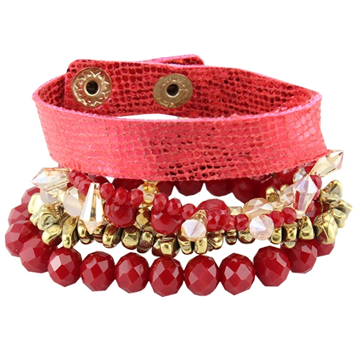 Red Metallic Beaded bracelet stack