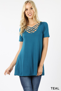 Teal criss cross casual blouse
