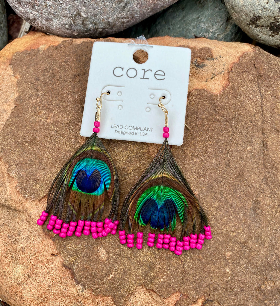 Peacock feather w/ hot pink bead Earrings