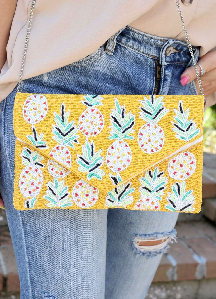 Pineapple Chic Beaded Purse Clutch
