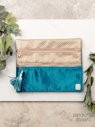 Into the Blue teal & Gold Double Zipper version Bag