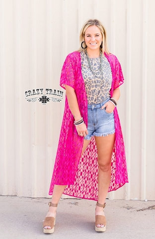 Hot pink laced up Southern dreams duster