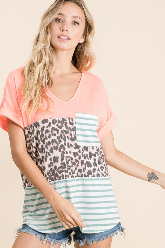 Neon Coral Leopard & Striped Top