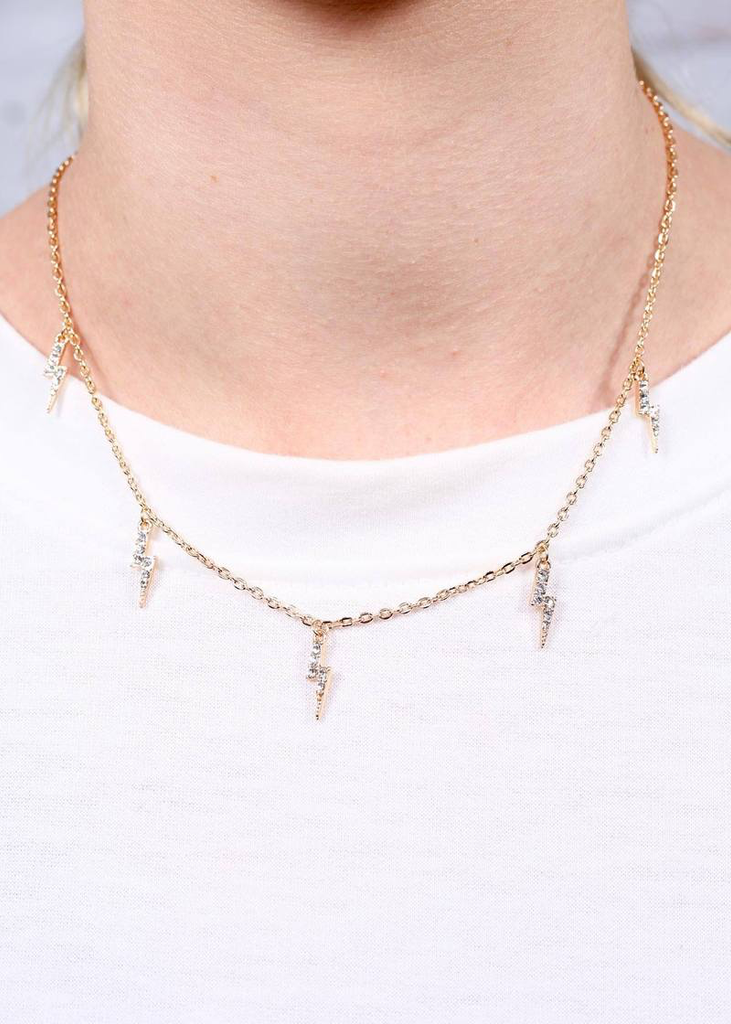 Lightning Bolt Crystal Charm Necklace