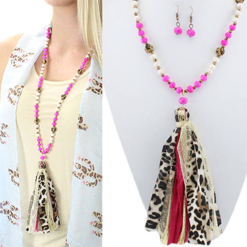 Hot Pink Barbie Leopard Tassel Beaded Necklace