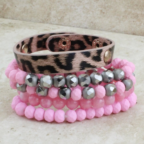 Blushing in Pink Silver Leopard Beaded Bracelet Stack
