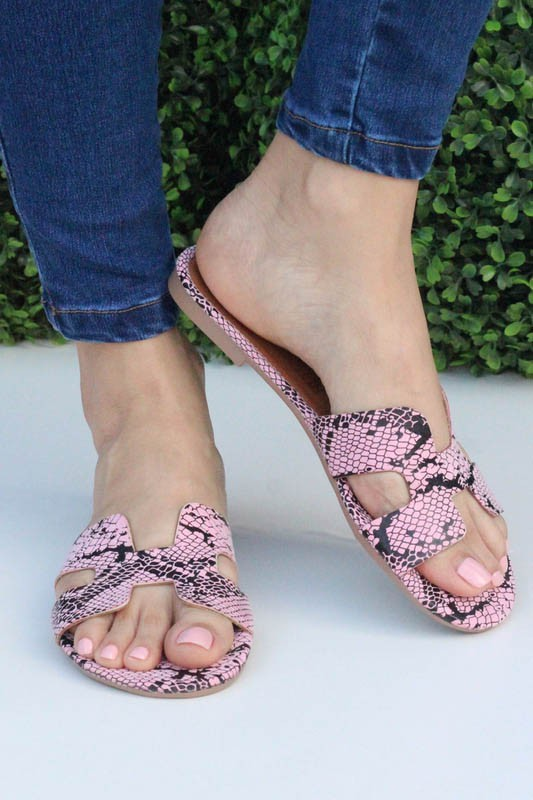Blush Python Slide on Sandals