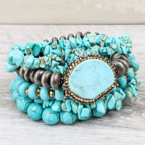 Turquoise Chunky Pave Bracelet Stack