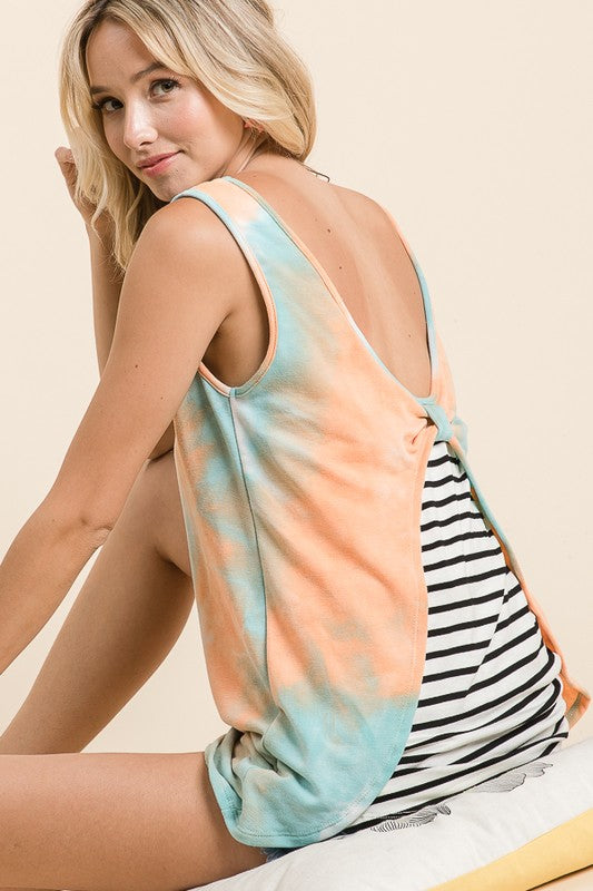 Orange & Blue Striped Bow Tank