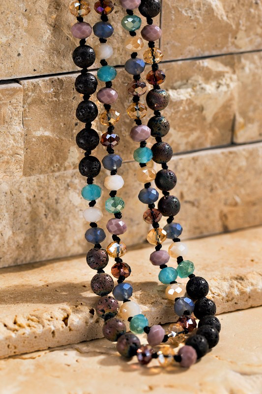 Multi Plum Lava Stone Beaded Necklace