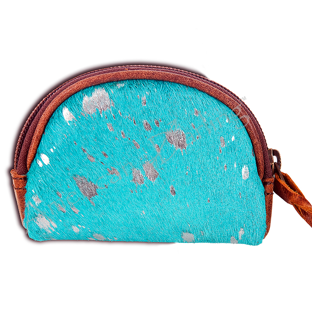Turquoise & silver acid wash Mini Coin purse