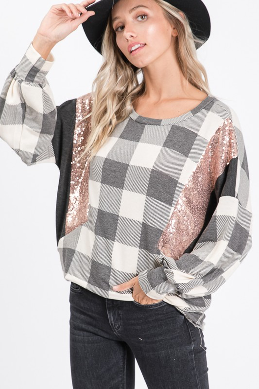 Black & white checkered rose gold sequin blouse