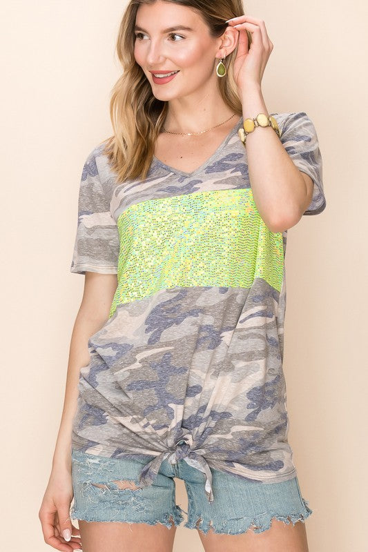 Olive Camo Disco Days Top
