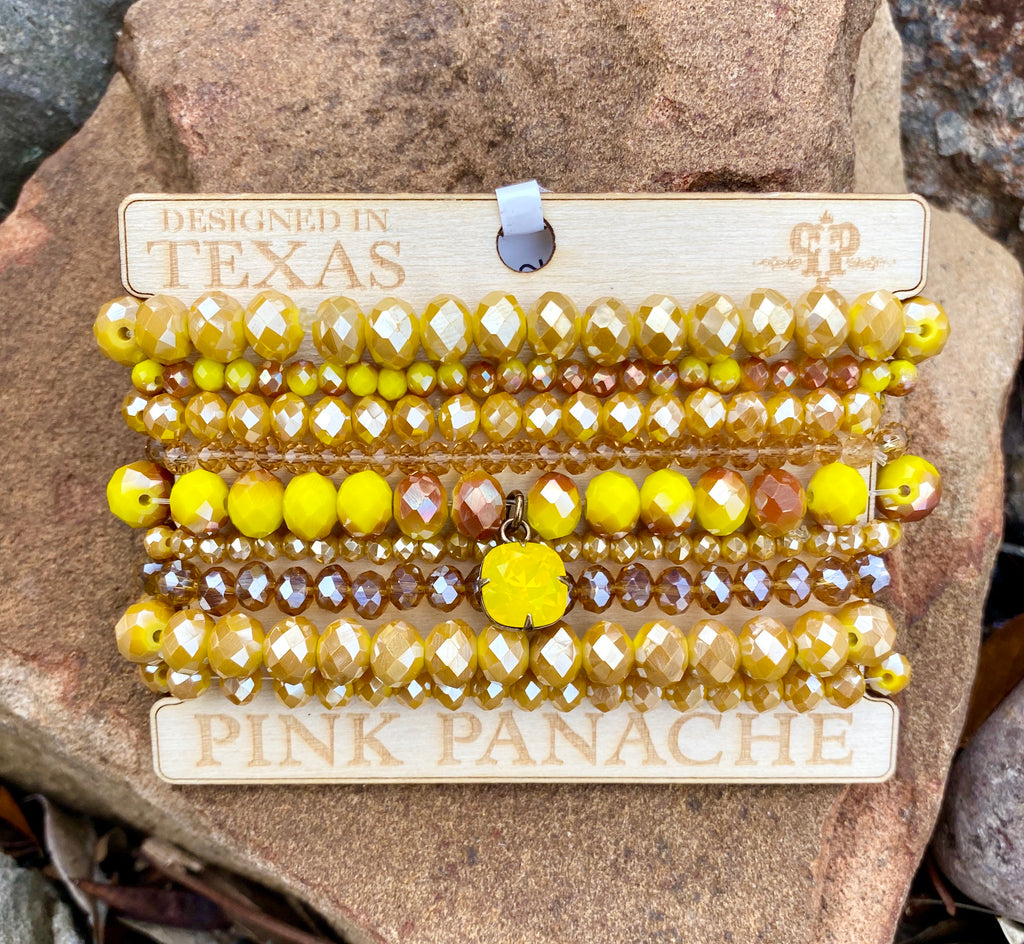 Yellow Beaded Stack & Yellow Crystal by Pink Panache
