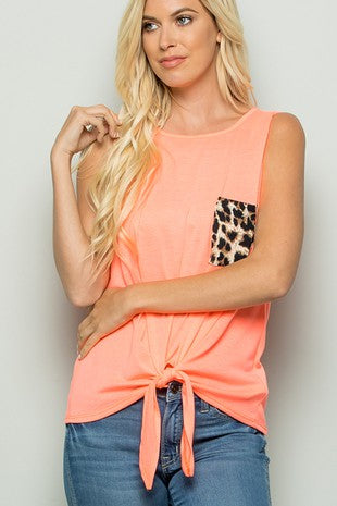 Neon Coral Cheetah Pocket Tank